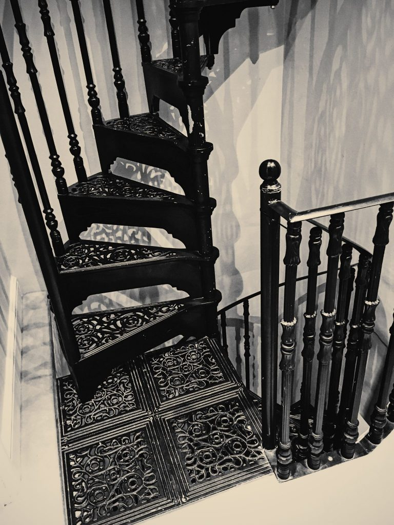 Narrow iron staircase in a house in London
