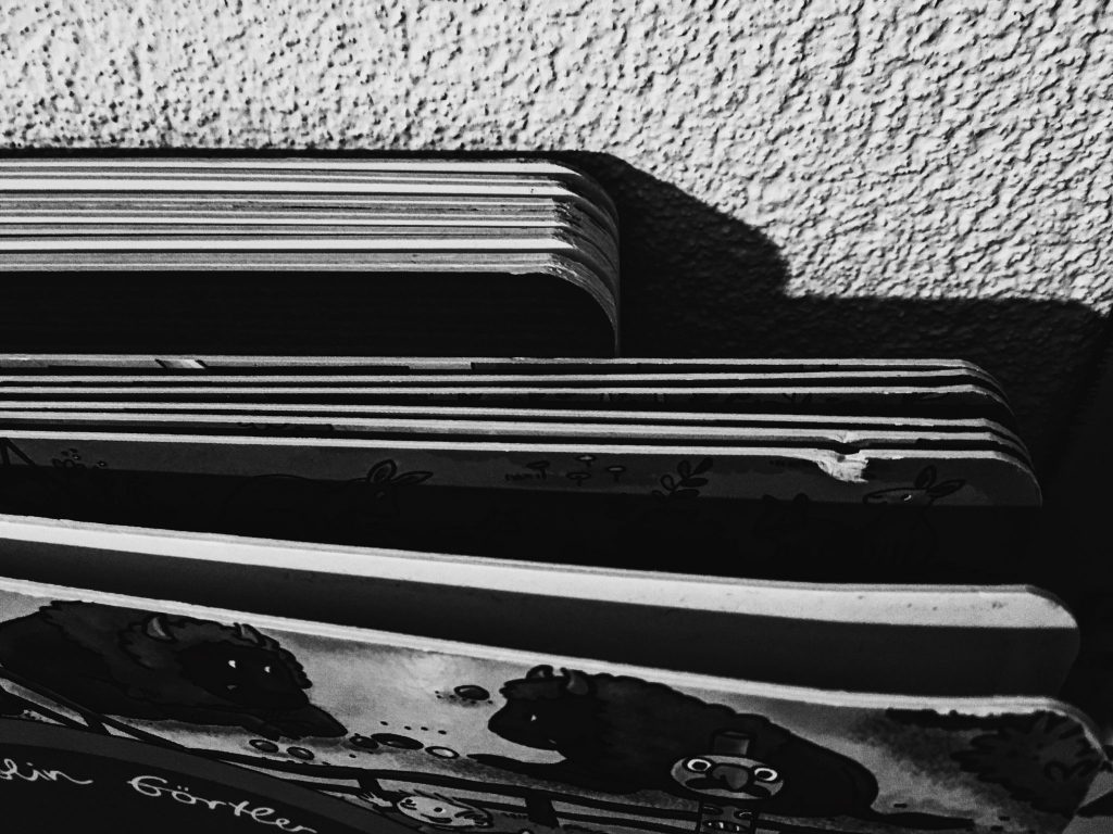 Books viewed from top in black and white