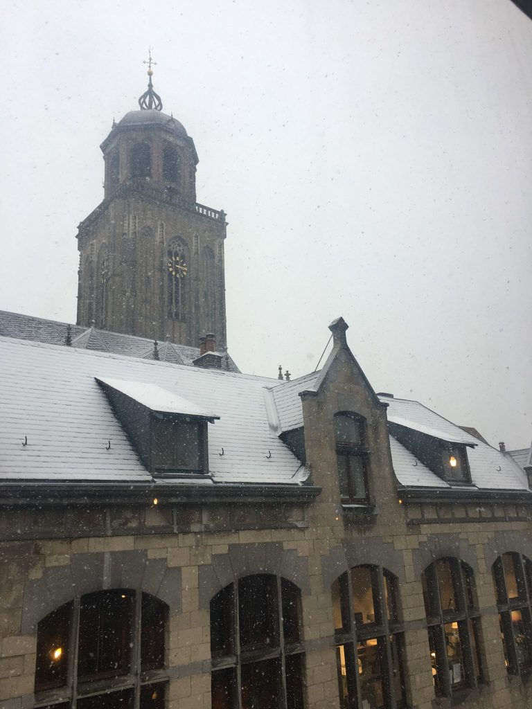 Snow on church and house roofs in Deventer